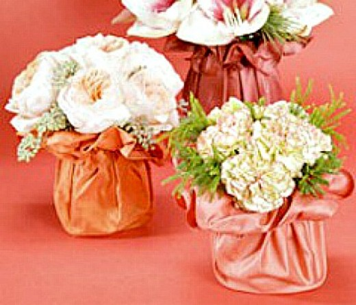 Цветы в вазу из ткани своими руками мастер класс фото
