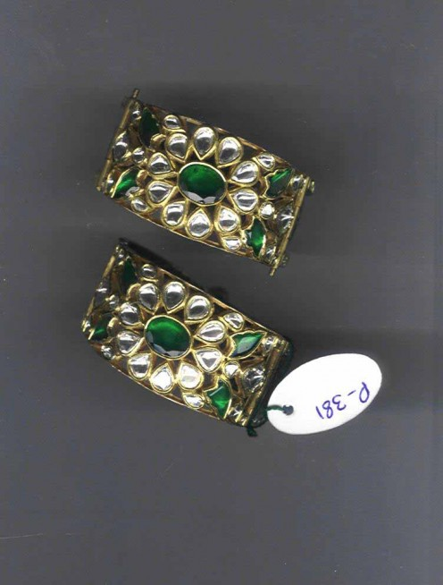 Kundan Meena Jadau Bangles with Emeralds and Diamonds
