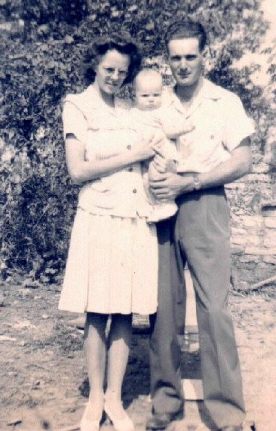 Gail McGhee and husband, Clyde Martin, and their first child, Owen Lee Martin.