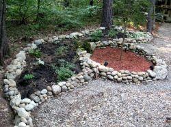 Rock borders in my New Hampshire back yard.