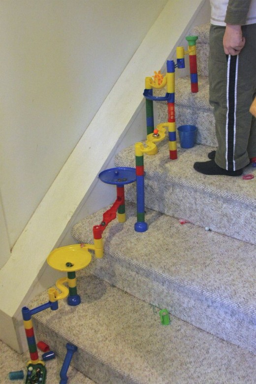 Marble Run on the Stairs
