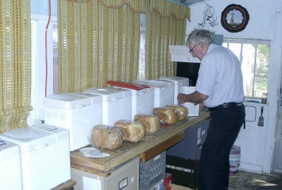 Dad baking bread for the farmer's market.
