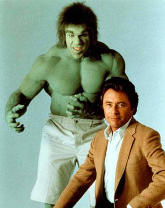 The Incredible Hulk was Marvel Comics first successful live action television show. And unlike the previous shows based on D.C. characters, it did not resort to camp. Although that hardly would seem the case based on this picture.