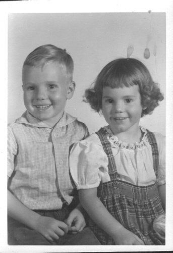 Owen and his sister Susan. Probably 2nd grade for him and first grade for her at Madison, Kansas.