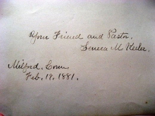Signature of Pastor Seneca M. Keeler in 1881