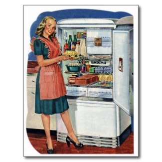 A typical graphic for a 1950s refrigerator advertisement. Love the apron and the happy housewife.