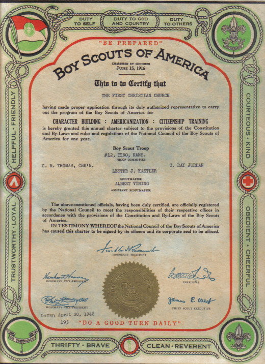 This certificate is signed by my great-uncle, Albert Vining. I could research about the Boy Scouts in that time and write a short post about Albert being assistant scout master. He had no children of his own, but raised a brother's son, Donald.