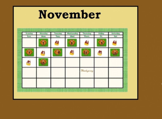 November Calendar Bulletin Board Pattern