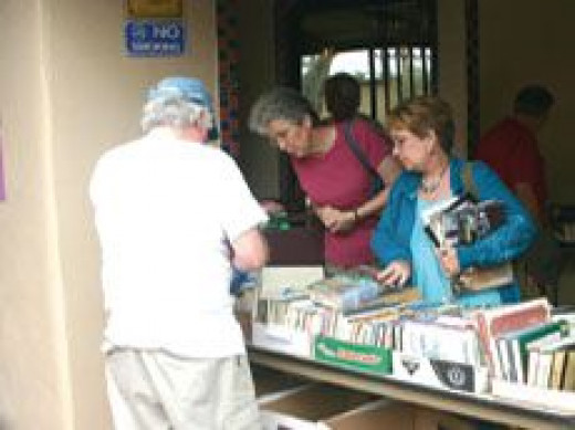 Used booksales - a good fund raiser for libraries.