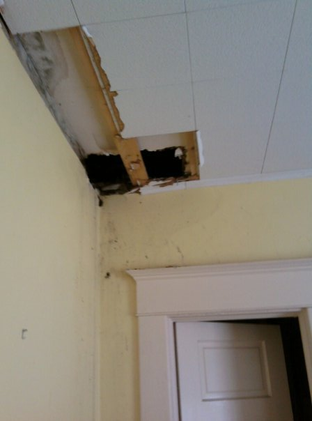 Where the fire broke through the ceiling into my sister's bedroom