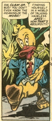 Howard the Duck's first appearance. This was supposed to be a throw away gag, but soon became one of Marvel's most popular characters.