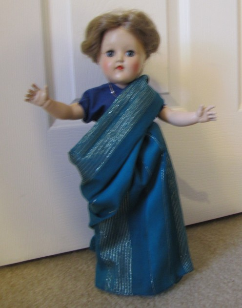 Same doll, same scarf... but this time we made an Indian sari outfit. For the how to tips, go to http://virginiaallain.hubpages.com/hub/doll-sari