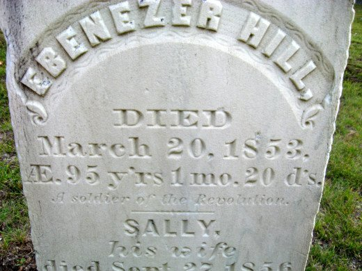 Ebenezer Hill (a Revolutionary War veteran who lived to be 95 years old)