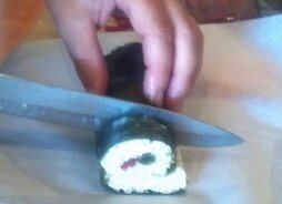Slice each roll into individual pieces.