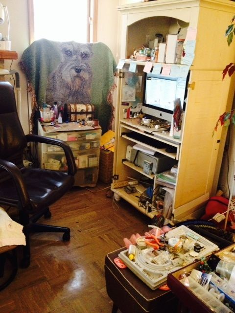 My current work area (hiding face in embarrassment!)