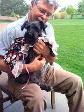 My volunteer Larry, on his first day with Zoe. Zoe died of sudden illness in 2012. She was a beautiful girl and is sorely missed.