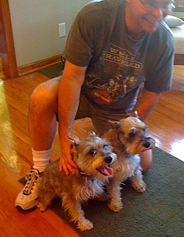 Larry with his beloved adopted girl, Tasha (right) who was also lost in 2012. With her in photo is my granddog Winnie. The two dogs looked very much alike!