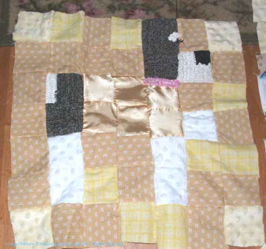 Here's the block with some crocheted squares.