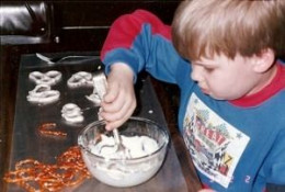 My Son John, The Chef, Making His First Chocolate Pretzels!