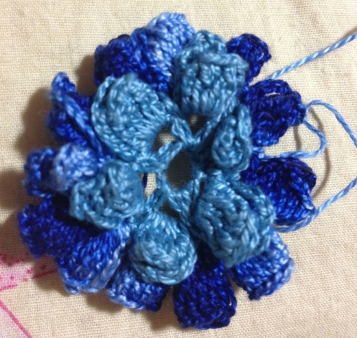 I Alternated Blue Variegated And Plain Blue Threads With Each Round For The Pendant.