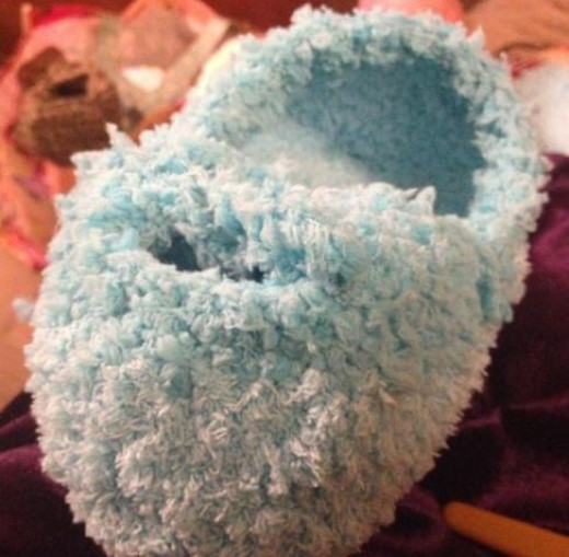 Working the top front closure section of my slipper