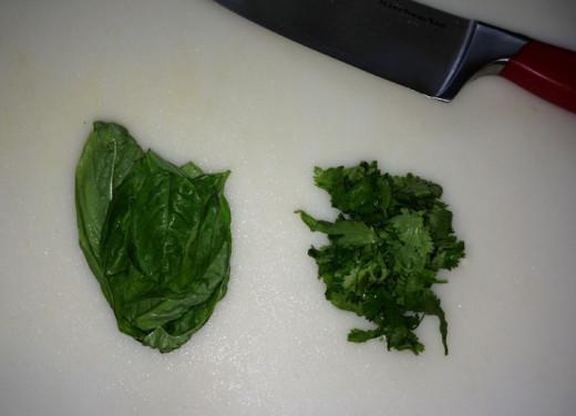 Fresh basil and cilantro leaves