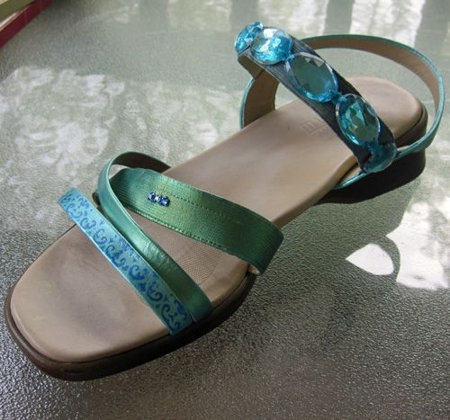 Boring beige leather comfort sandals after their paint and jewel embellishment makeover.