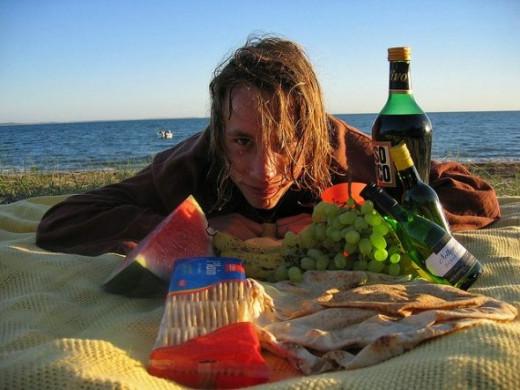 Enjoying a picnic on the beach