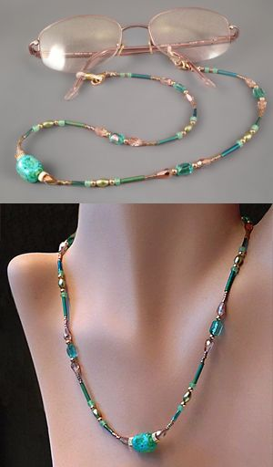 Beaded convertible eyeglasses leash / necklace designed, made and copyright 2014 Margaret Schindel, all rights reserved.