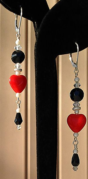 Queen of Hearts beaded drop earrings by Margaret Schindel
