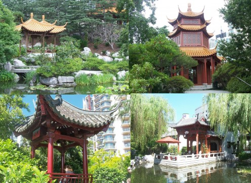 Intricate Chinese Pavilion surrounds the garden
