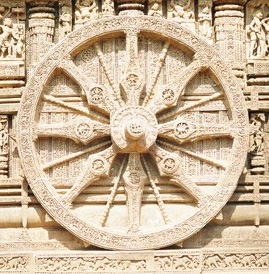 One of the 24 stone wheel found in the Sun Temple at Konark, India. A symbol of ever-rotating wheel of cyclic time?