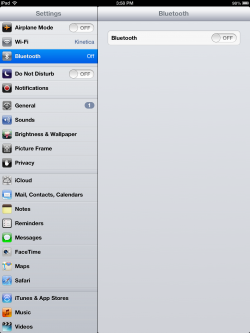 bluetooth ipad settings