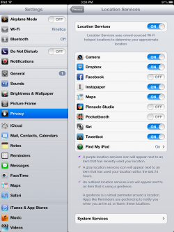 location services ipad settings