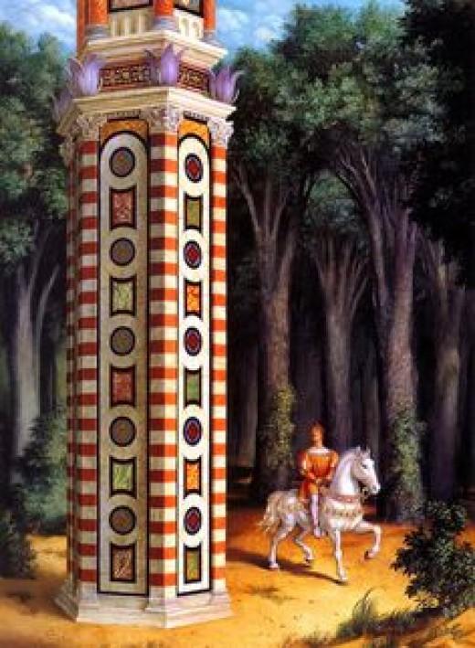 Rapunzel's tower, Zelinsky