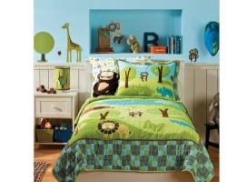 Image credit: Amazon.com. The playful jungle safari kids' bedding set shown here, is available below.