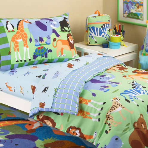 Jungle Safari Bedding for Toddlers: Comforter and Sheet Set