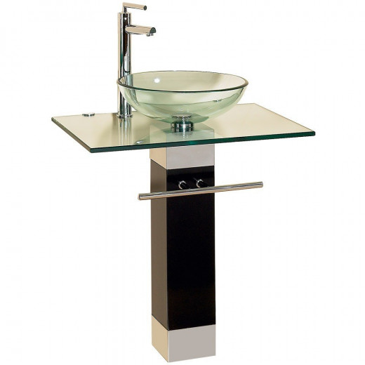 23 Inch Modern Bathroom Vanities Tempered Glass Design Vessel Sink
