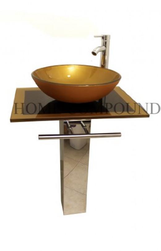 23-inch Wide Glass Vessel Bathroom Vanity Combo Mustard Gold