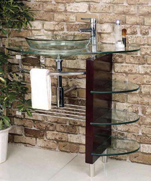 Modern Chrome & Glass Vanity Combo with Shelves