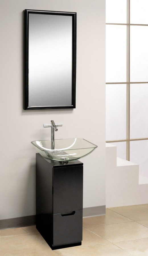Modern 10-Inch Bathroom Vanity, Small Black Vanity
