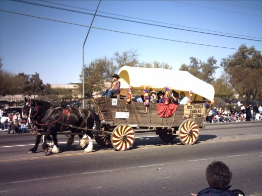 Horse drawn wagon in the annual Tucson Rodeo Parade