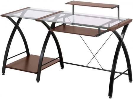 Modern Glass Computer Desk with Keyboard Shelf