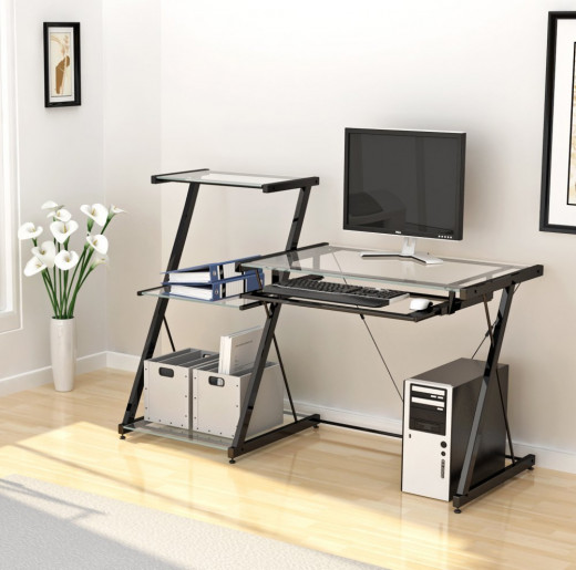 Multi-Level Glass Top Computer Desk with Pull Out Keyboard Shelf