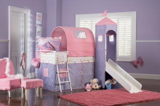Little Girls' Pink & Purple Princess Castle Bed