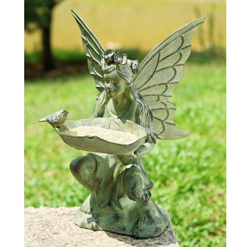 Stand Alone Outdoor Fairy Garden Statue/Easy Bird Feeder