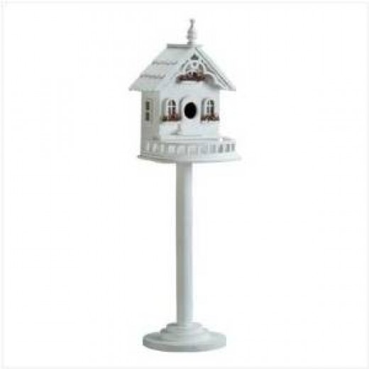 Victorian House Free Standing Fancy Feeder Bird House on Pole