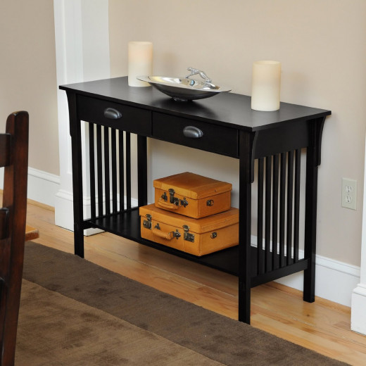 Black Console Table with Two Drawers and Shelf