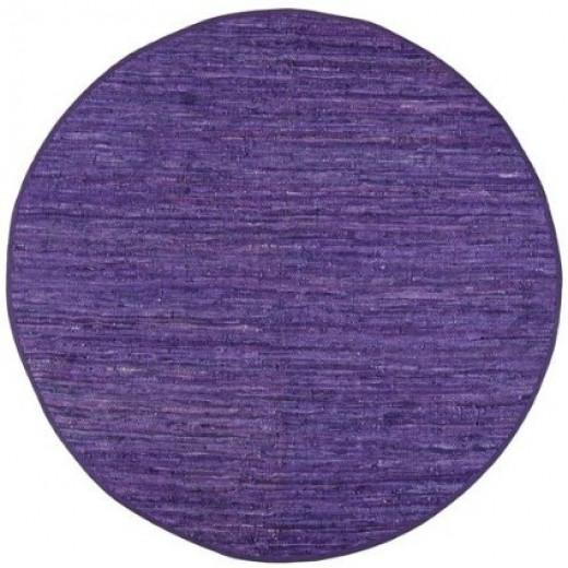 Large Round 6 X 6' Purple Leather Rug