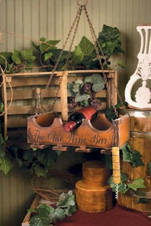 Hanging Wine Glass Rack & Wine Bottle Holder Combination